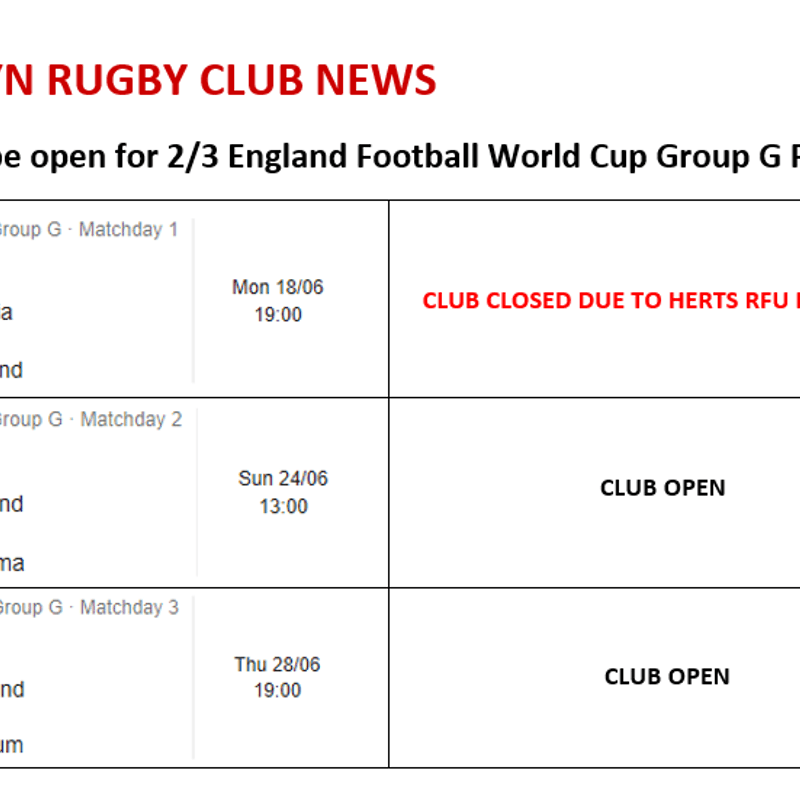 Club Open for 2/3 England Football World Cup Group G Fixtures