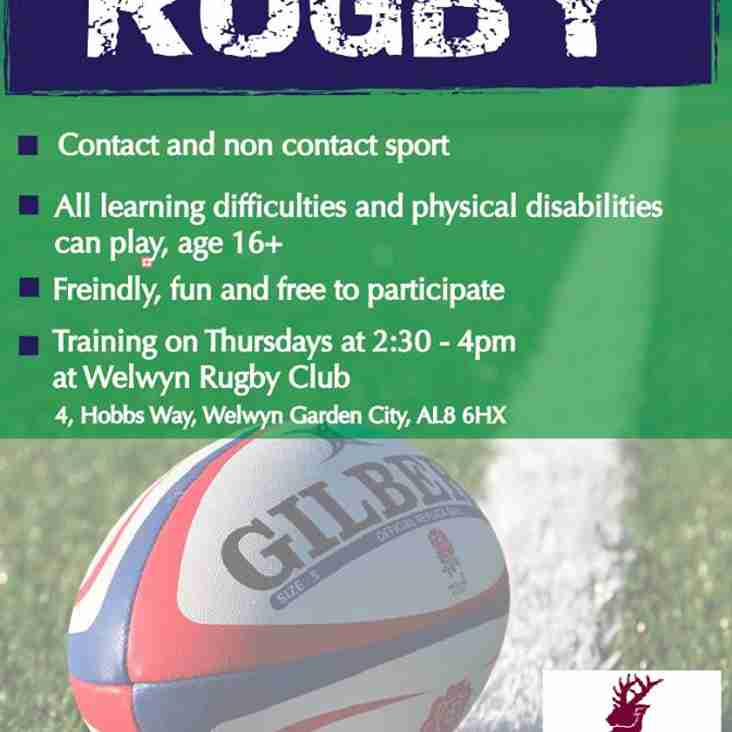 Mixed Ability Rugby Thursday's 2.30pm till 4pm
