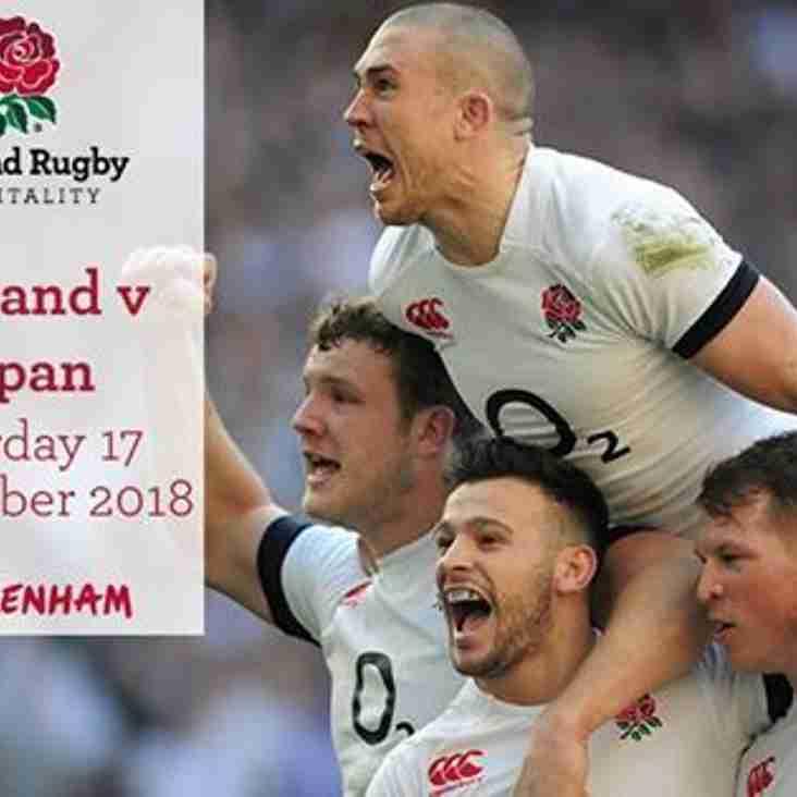 England v Japan Tickets Available