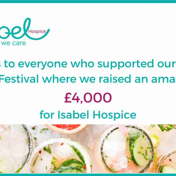 Update following the recent Isabel Hospice Fundraising Gin Festival