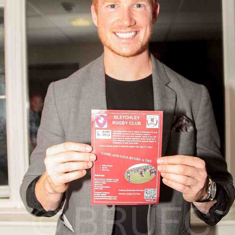 on the other week I was at mk athletics awards evening and guest grand slam Olympic world European commonwealth world champion Greg Rutherford Bletchley local boy. pictured holding Bletchley Rugby Club flyer. (Photo by Tom Blackman)
