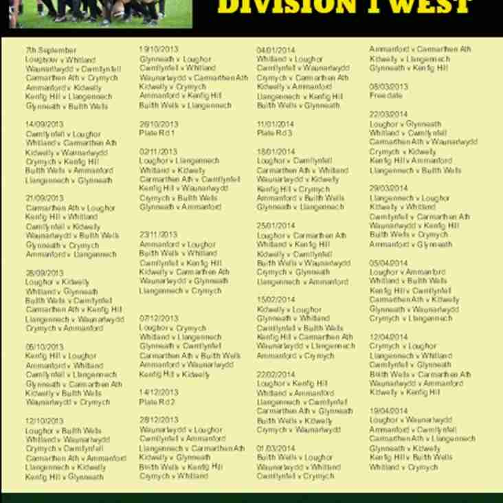 Builth Wells fixture poster for Season 2013-14 in Division One West
