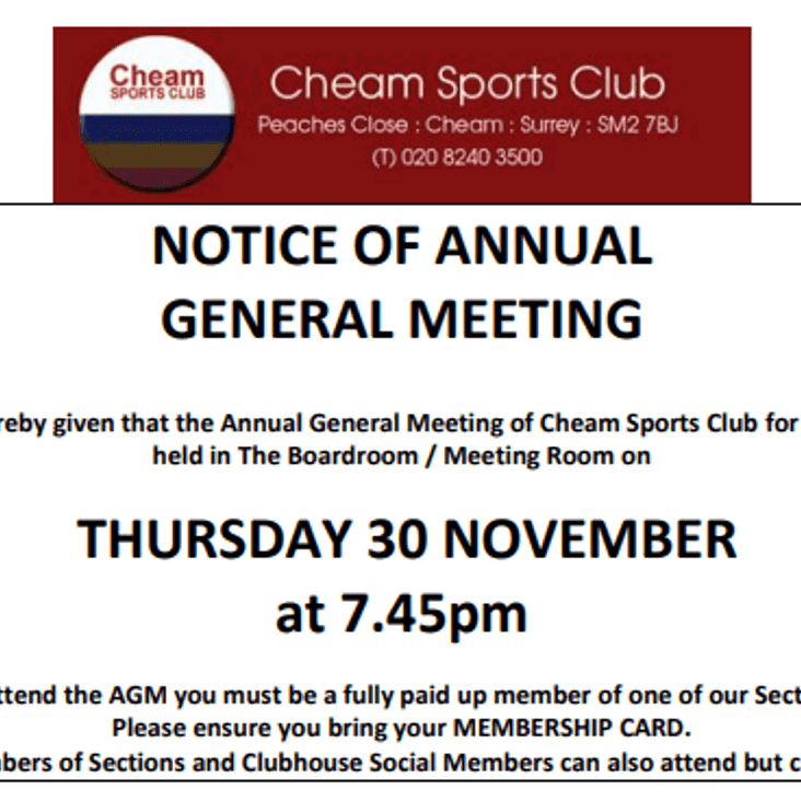 Cheam Sports Club AGM