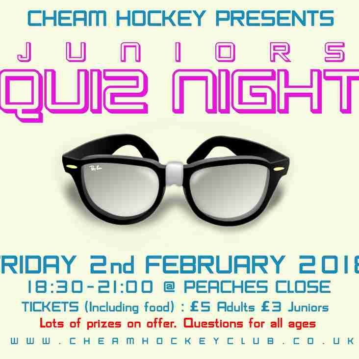 Junior Quiz Night Friday Feb 2nd