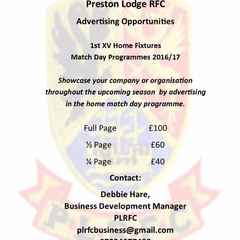 PLRFC SPONSORSHIP PACKAGES 2016/17