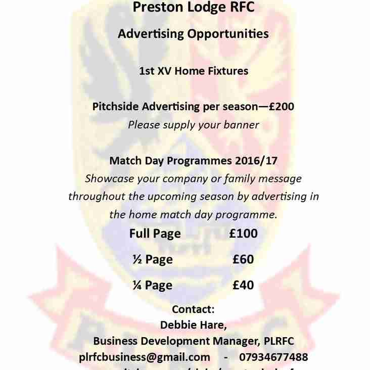 ADVERTISE WITH PLRFC