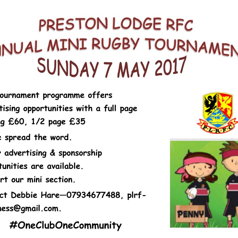 ANNUAL MINI RUGBY TOURNAMENT SUNDAY 7 MAY