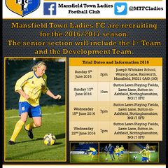 Mansfield Town LFC 2016/17 Open Trial Dates Announced