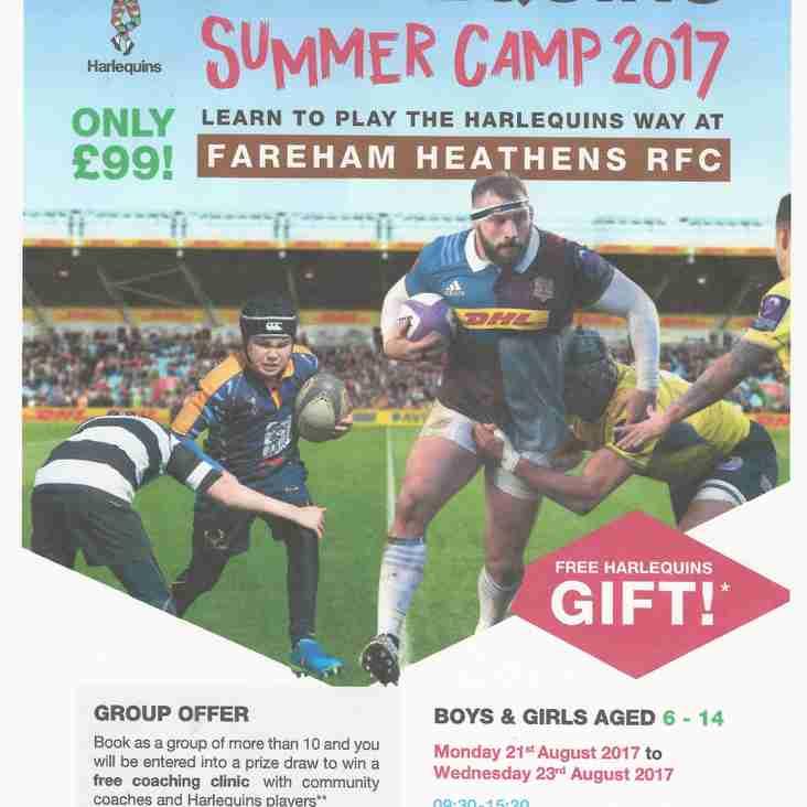 Quins Summer Camp-Reminder