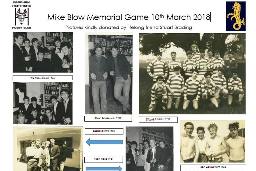 Early Warning-Mike Blow Memorial Game Saturday 10th March 2018