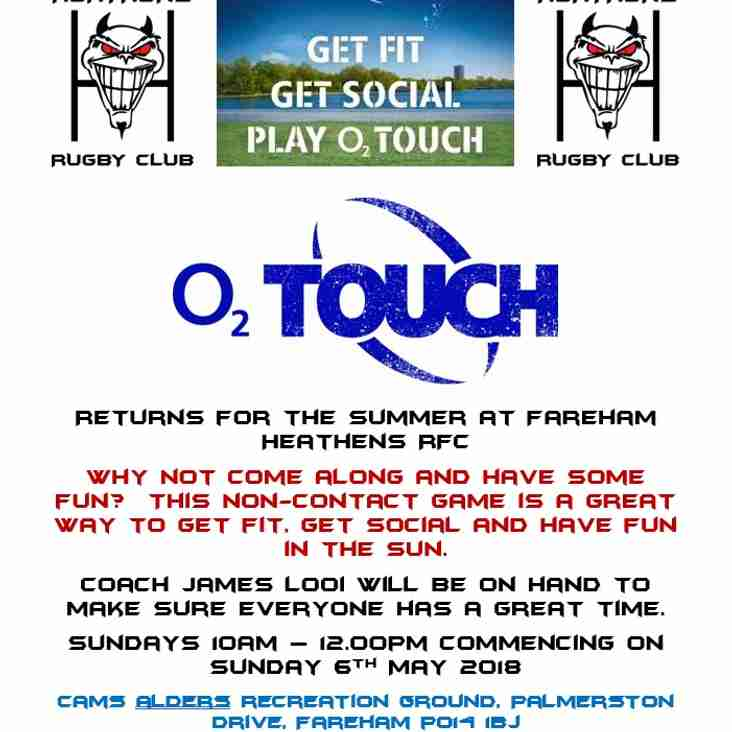 O2 Touch back for the Summer
