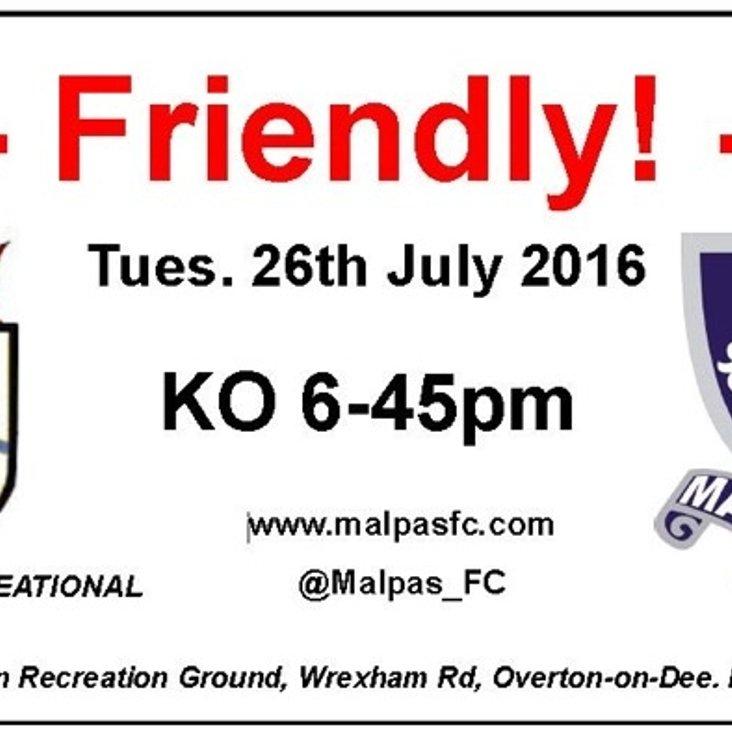 Overton Rec FC vs Malpas FC - Tonight 6:45pm<