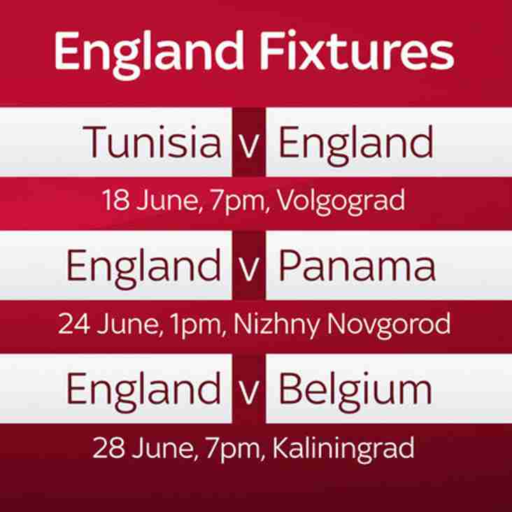 CCC - World Cup 2018 - England Games to be shown in Clubhouse