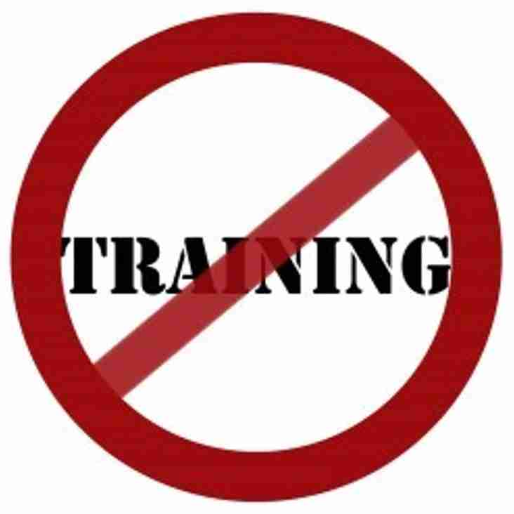 Cancellation of Junior Training  - Friday 20th  July