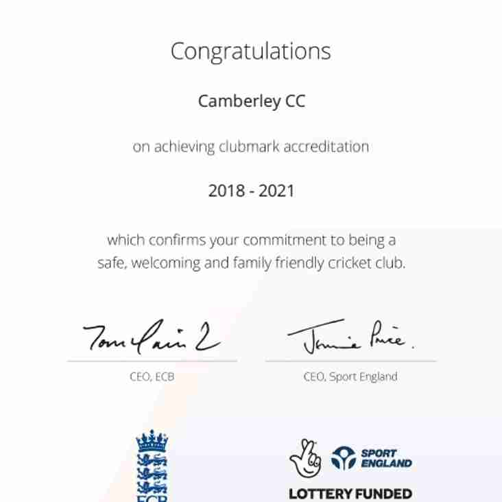 Camberley Cricket Club - an ECB Clubmark Club 2018 to 2021