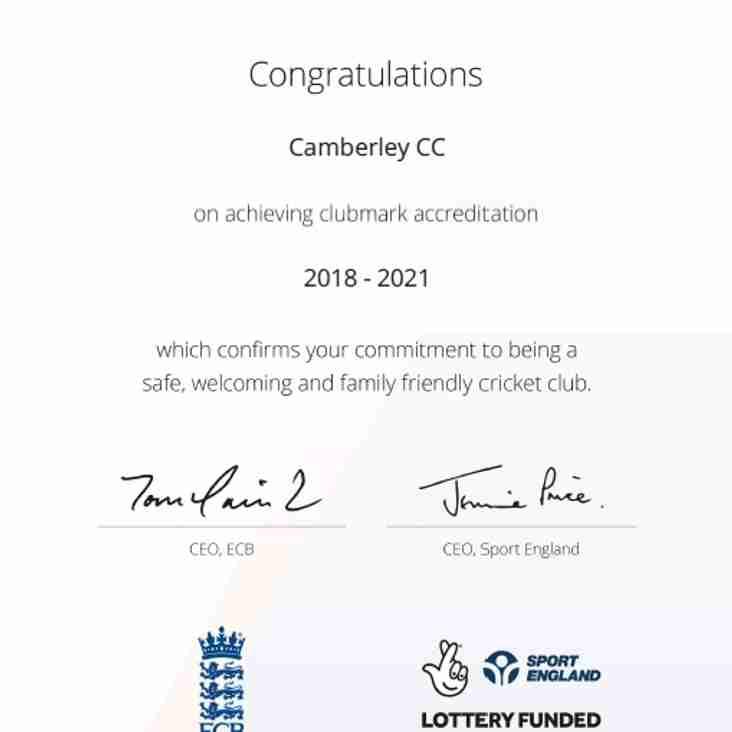 Camberley Cricket Club - an ECB Clubmark Club 2018 to 2021