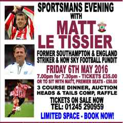 Meal Tickets for Sportsman's Evening with Matt Le Tissier SOLD OUT! £10 Tickets Still Available