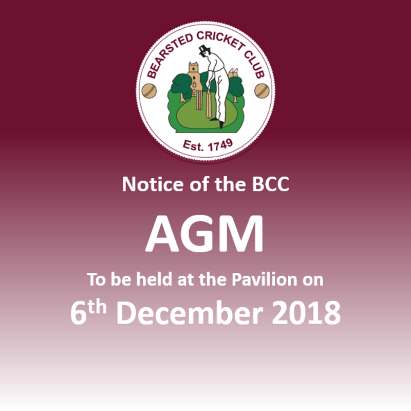 Bearsted CC AGM - 6th December 2018