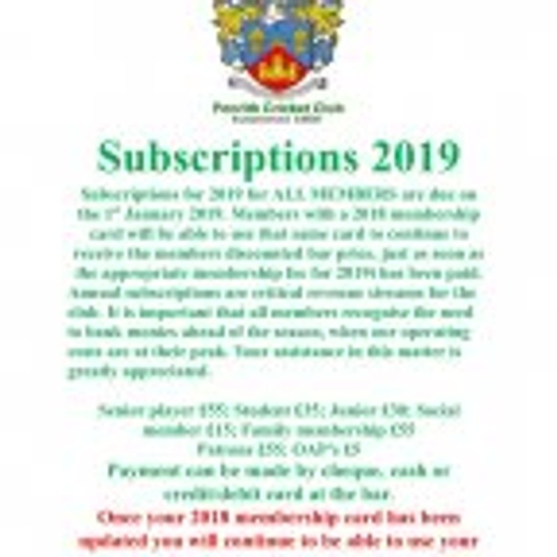 2019 Subscriptions