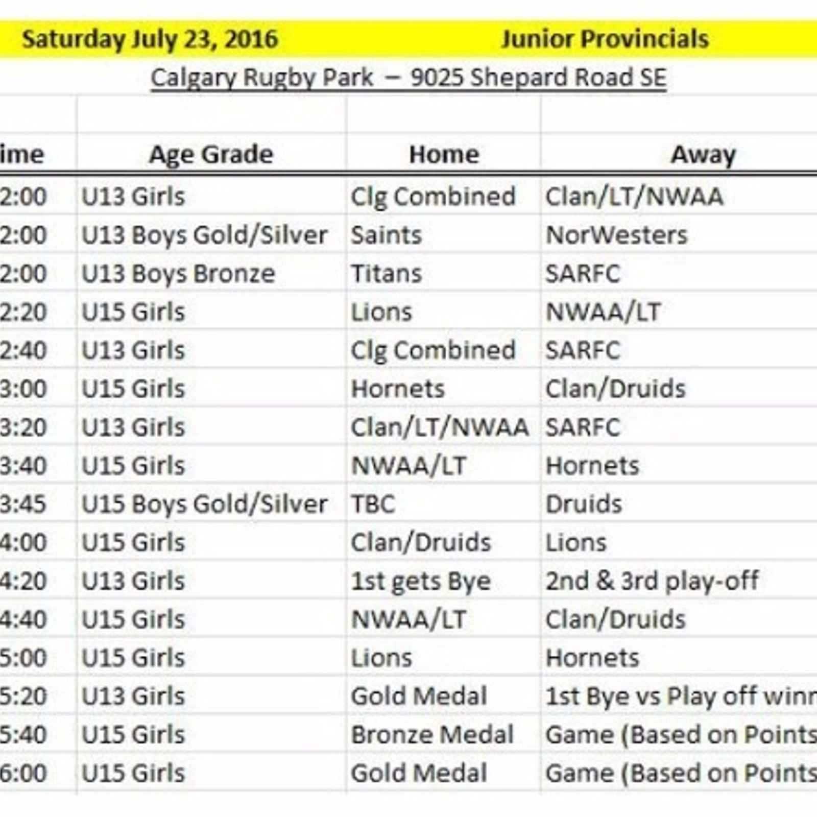 Junior Fixtures for July 23rd...