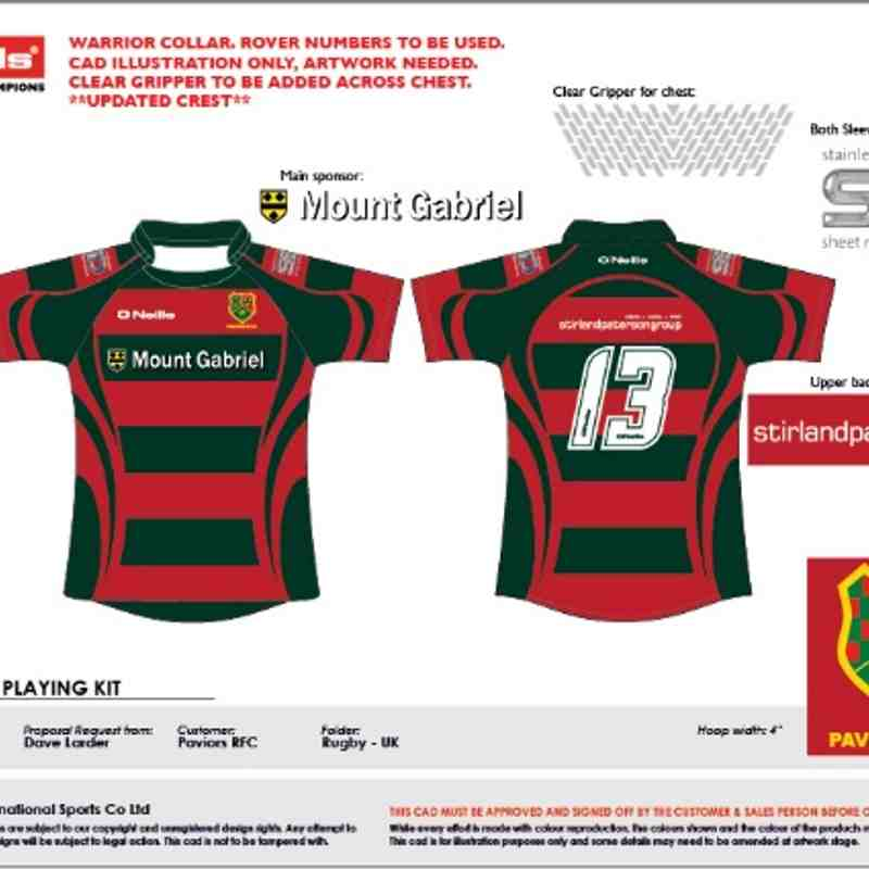 New 1st team shirt for 2014/15 with new Sponsor Mount Gabriel