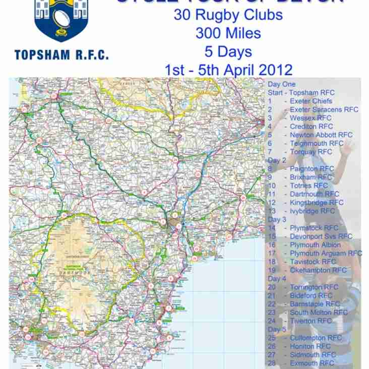 Topsham RFC Colts Sponsored Cycle Tour of Devon