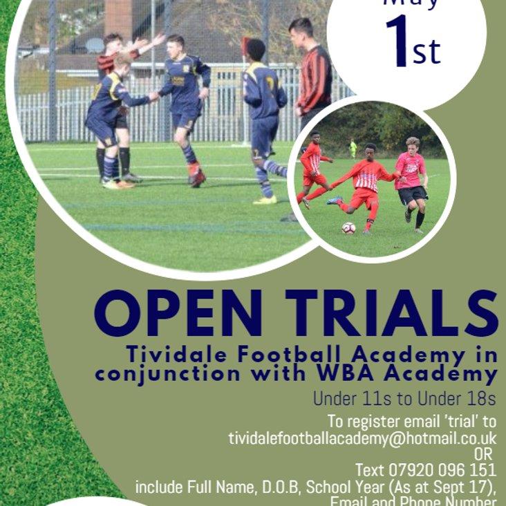 Last Few Days to Register for Tividale Football Academy Trials for U11&#039;s - U18&#039;s<