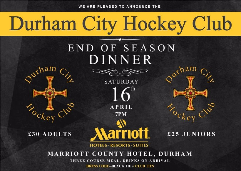 End Of Season Dinner 2016 News Durham City Hockey Club