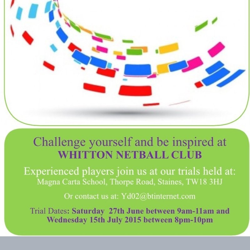 Whitton Netball Club Trials - Round 1