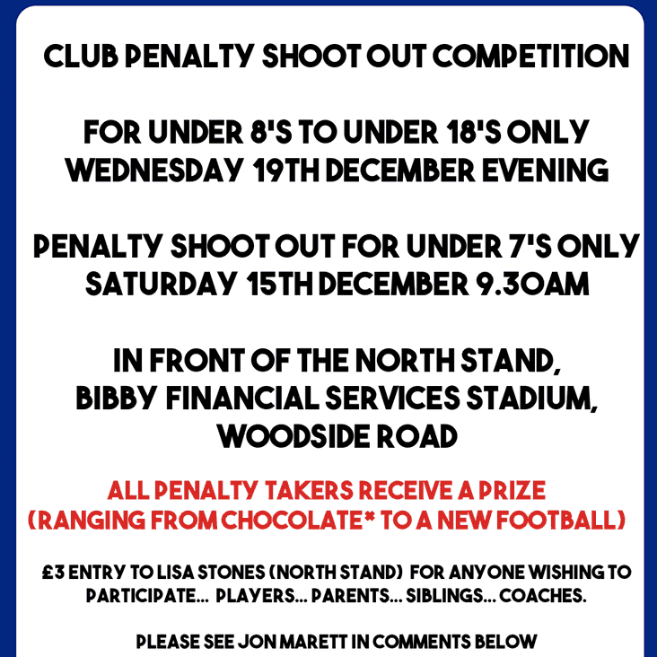 We Are Pleased To Announce Worthing Dynamos Christmas Penalty Shoot Out Fundraiser