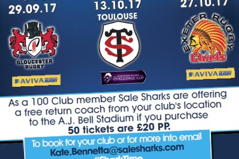 Sale Sharks 100 Club Ticket Offer
