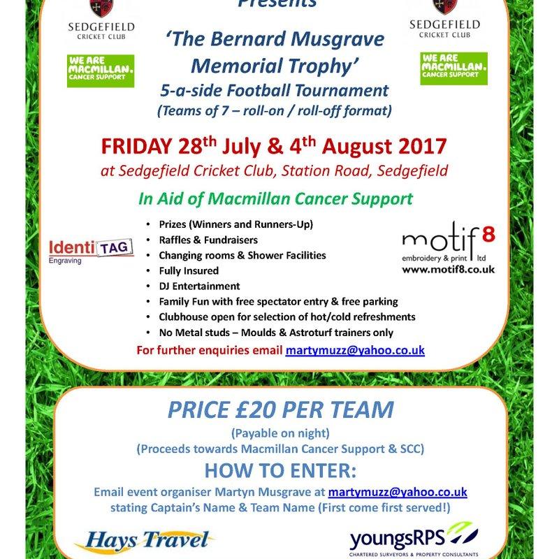 Bernie Musgrave Memorial Football Tournament 2017