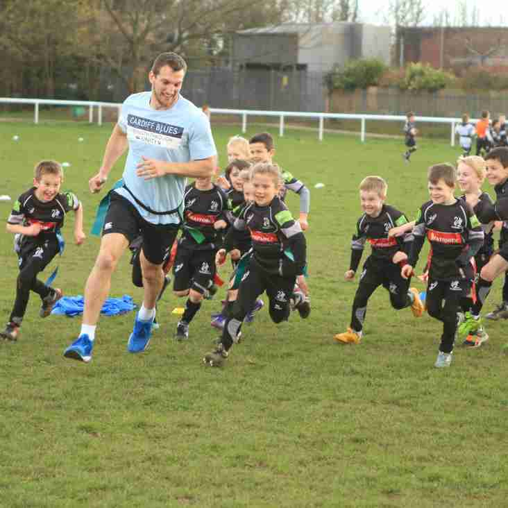 Sam Warburton Under 7s and Under 8s training session