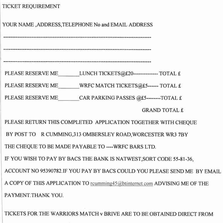 Ticket Information for the Former Player's Luncheon--Saturday 14th October