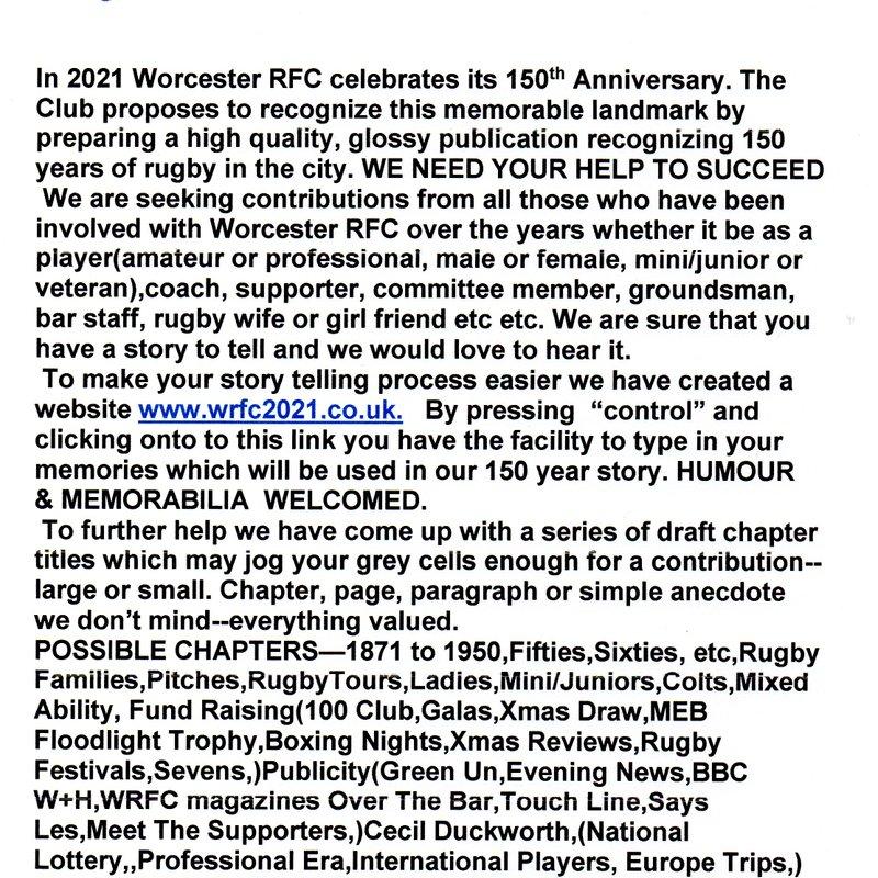 1871-2021 WRFC 150th Anniversary