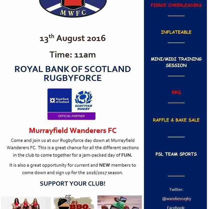 Murrayfield Wanderers FC Rugbyforce day