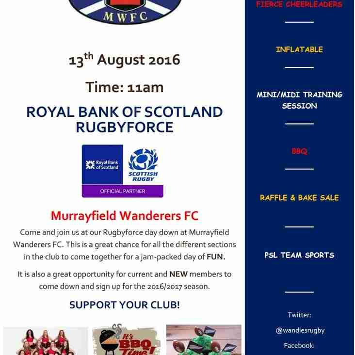 Murrayfield Wanderers FC RBS Rugbyforce day