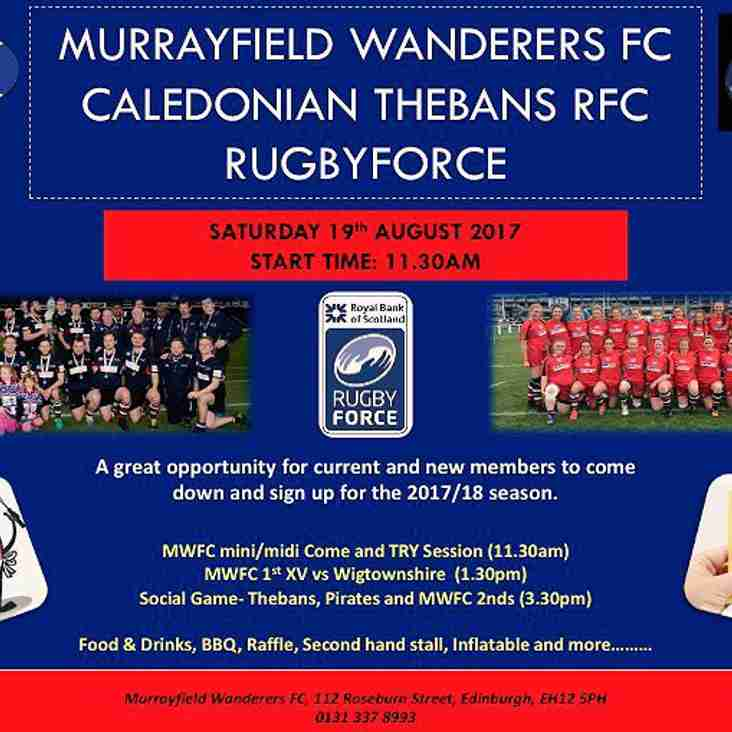 First training 2017/18 season - Saturday 19th August - Rugbyforce