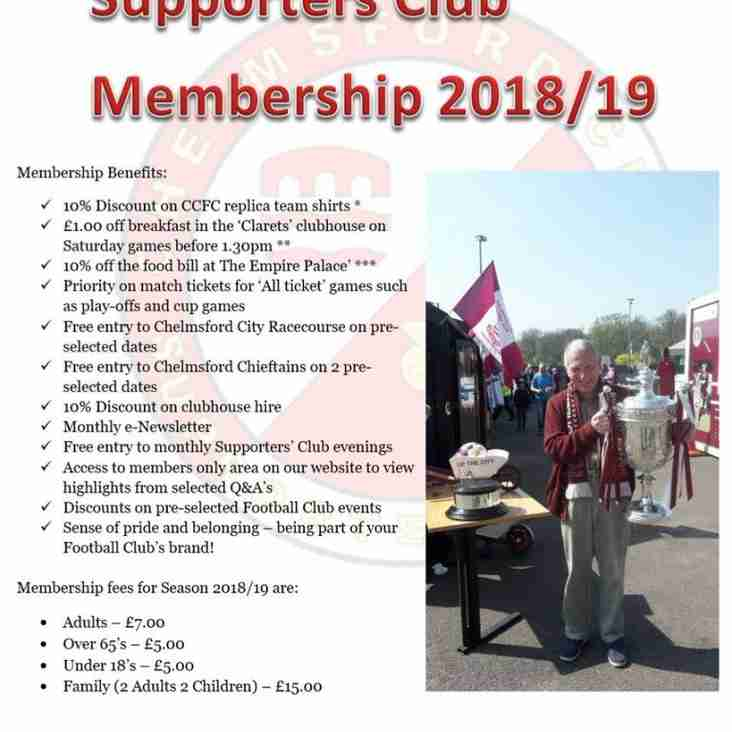 CLARETS Supporters'  2018/2019 Membership Package
