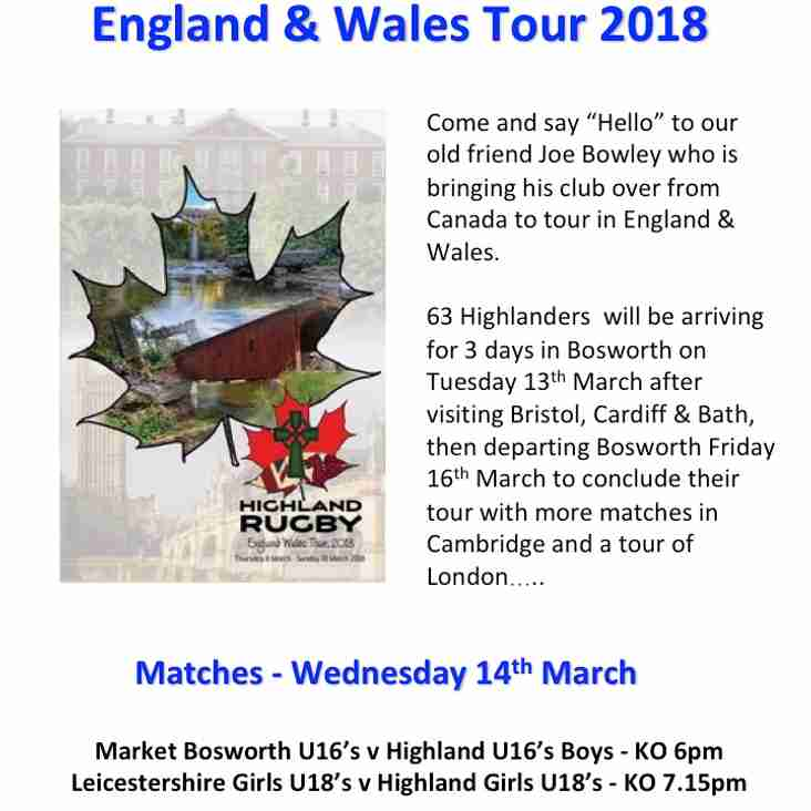 Highland Rugby Club on Tour and playing at Bosworth 14th March.