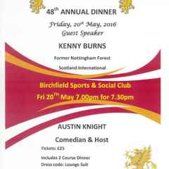 Annual Dinner Friday 20th May 7.0 for 7.30pm