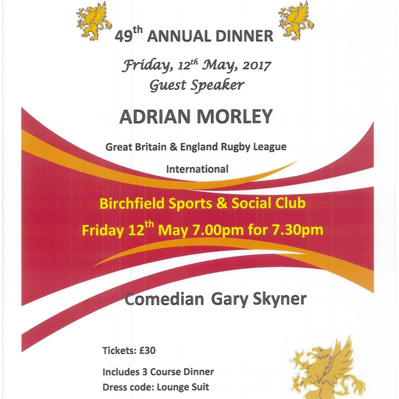Annual Dinner Friday 12th May 7.00 for 7.30pm