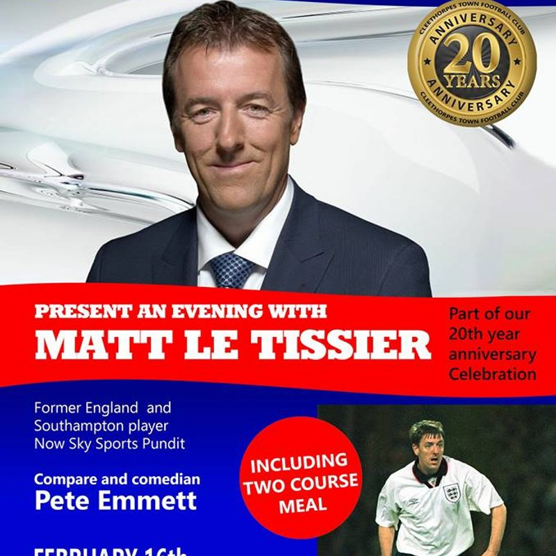 4 Weeks Until we welcome Matt le Tissier