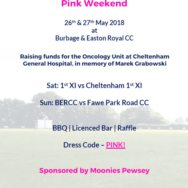 Pink Weekend Match – 26th May – Raising funds for the Cheltenham Oncology Unit