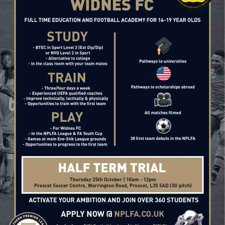 Widnes Academy Half Term Trials
