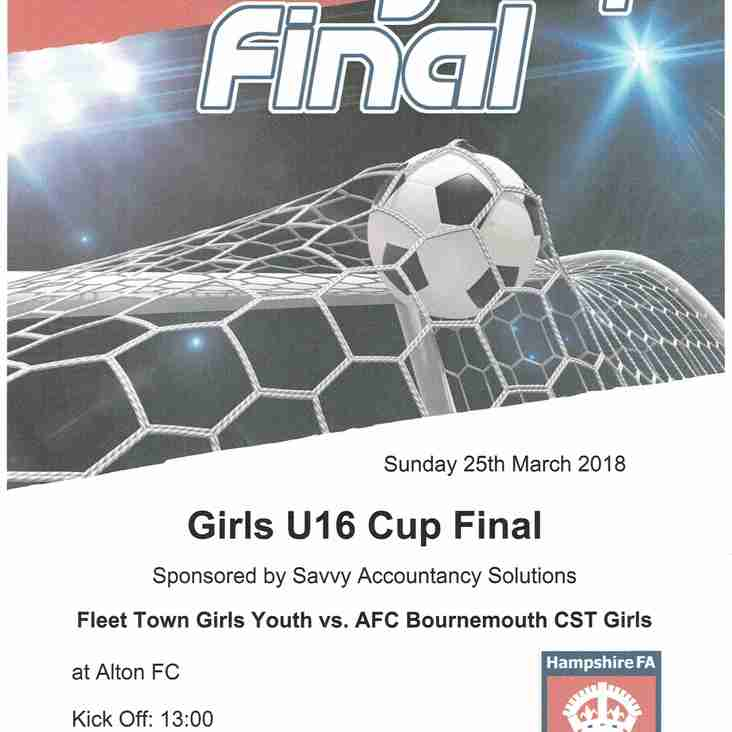 U16s in Hampshire FA County Cup Final 25th March 2018