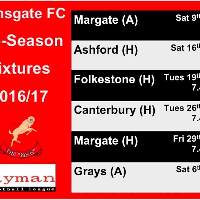 2016/17 Pre-Season Fixtures Announced