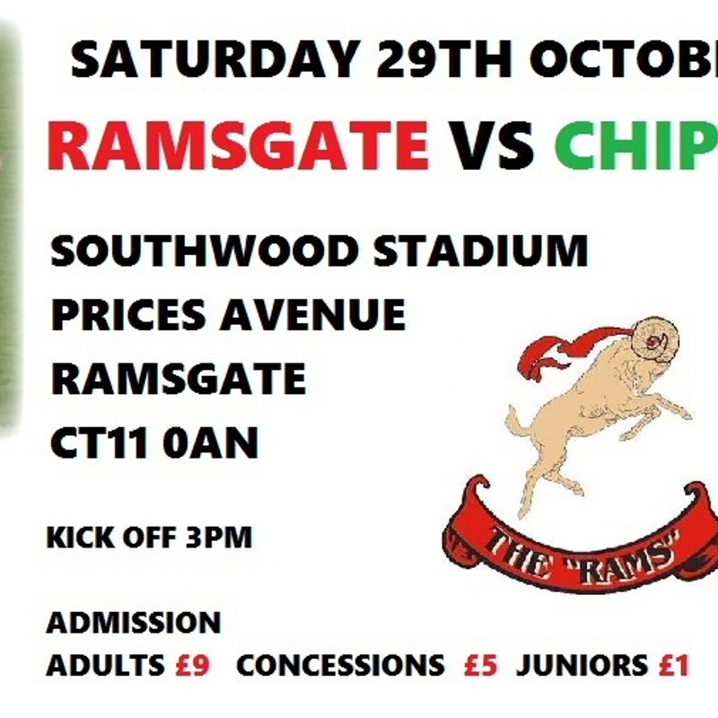 Ramsgate v Chipstead (Sat 29th October 3pm)
