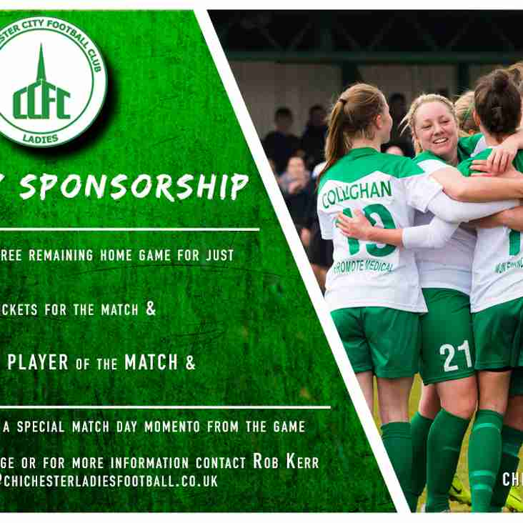 Match day sponsorship available for remaining home games