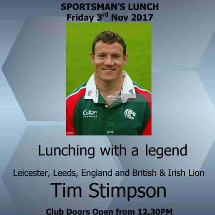 England and British Lions Tim Stimpson speaks at sports mans lunch